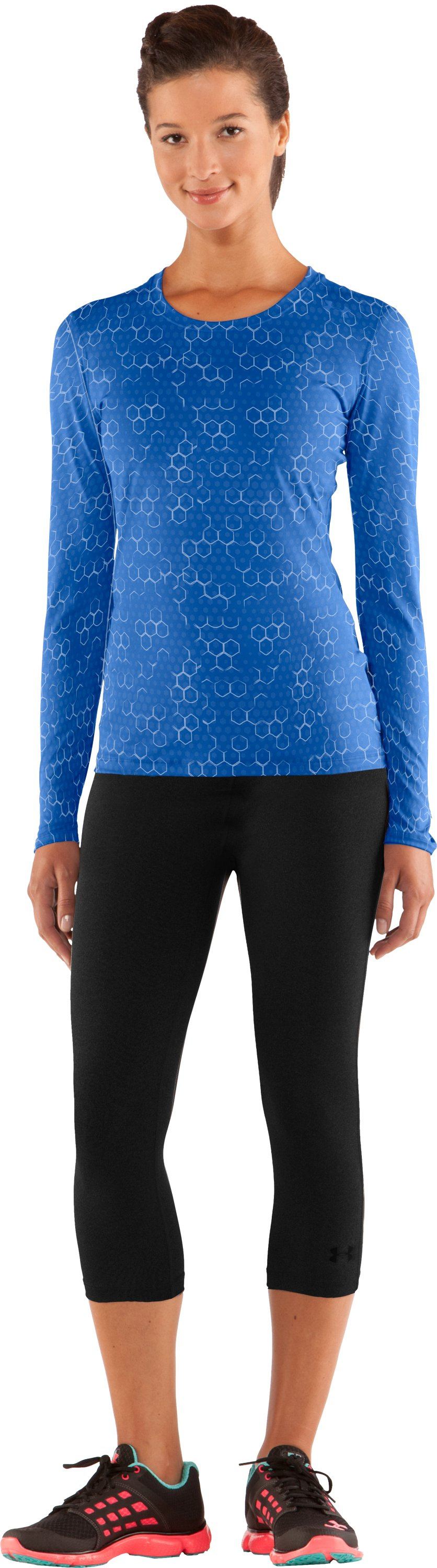 Women's HeatGear® Sonic Printed Long Sleeve, Water, zoomed image