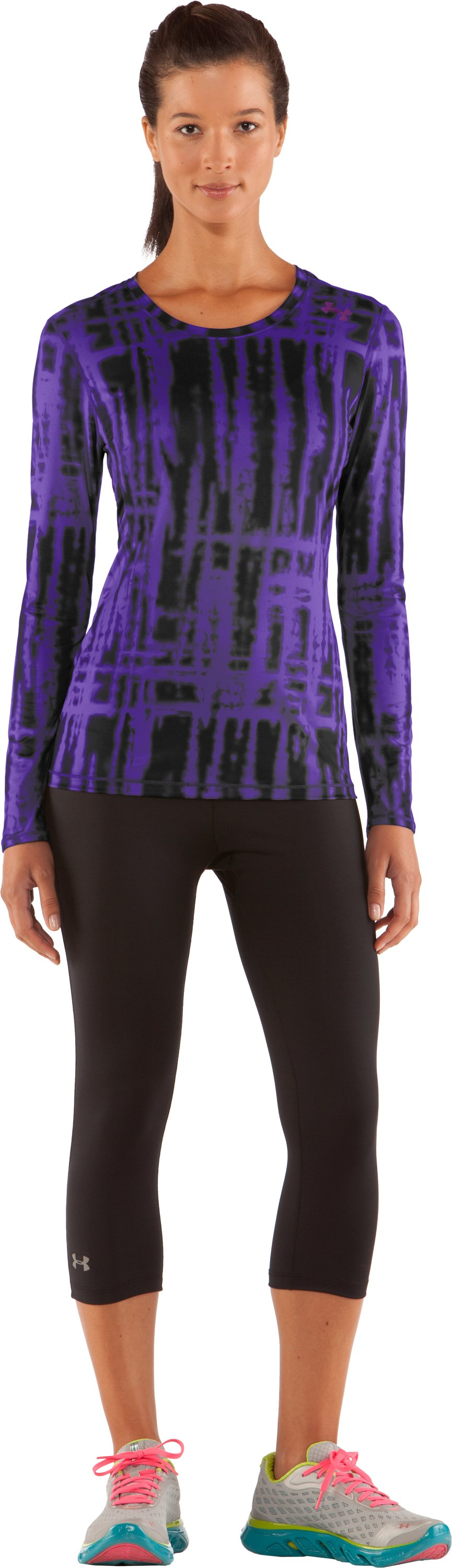 Women's HeatGear® Sonic Printed Long Sleeve, Pluto, zoomed image