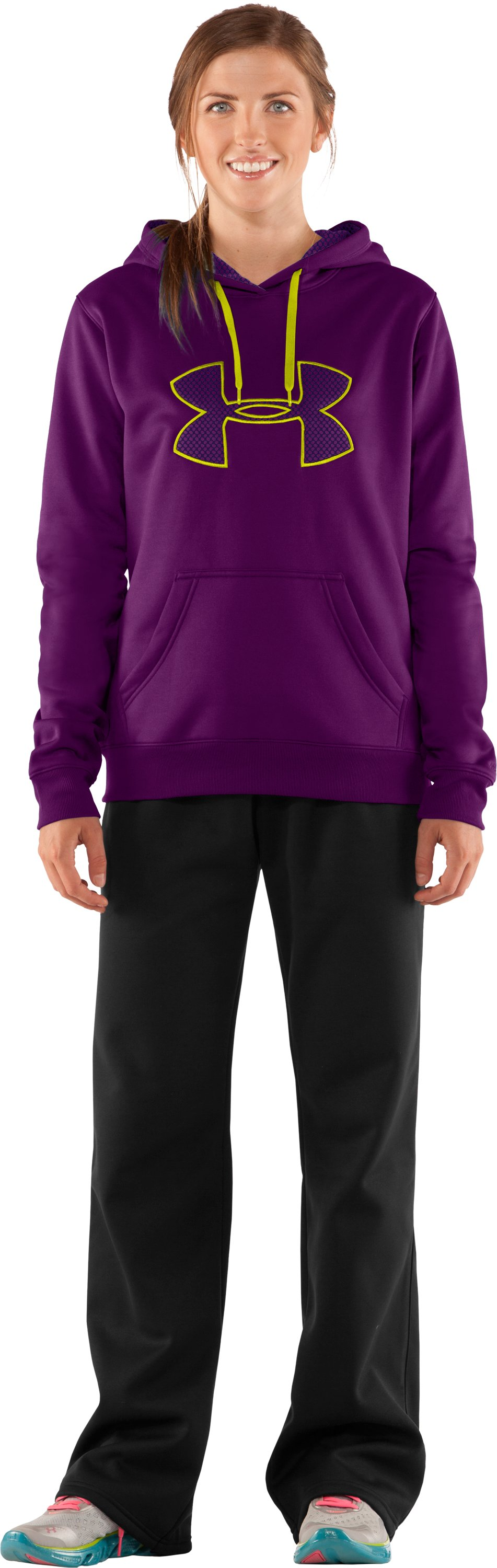Women's Armour Fleece® Storm Big Logo Intensity Hoodie, Cassis, Front