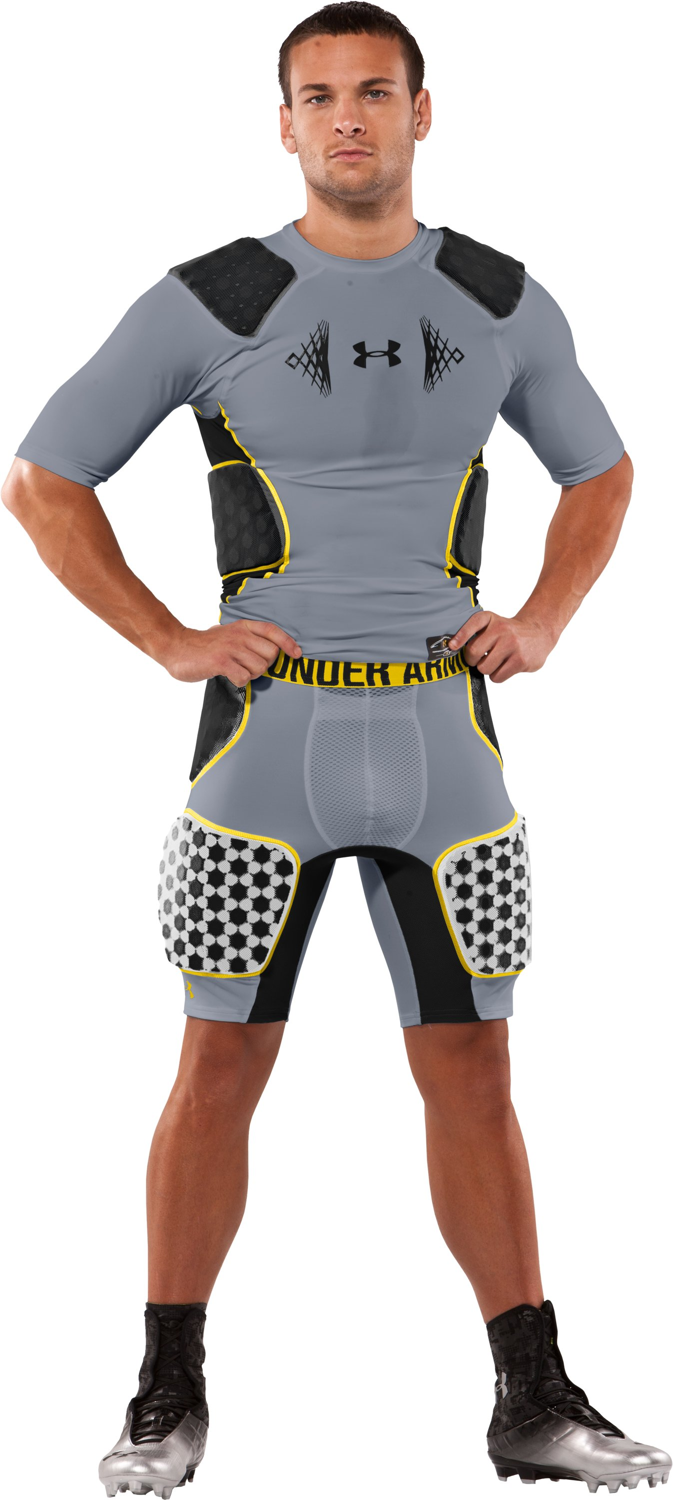 Men's MPZ® 5-Pad 3D Armour® Girdle, Steel, Front