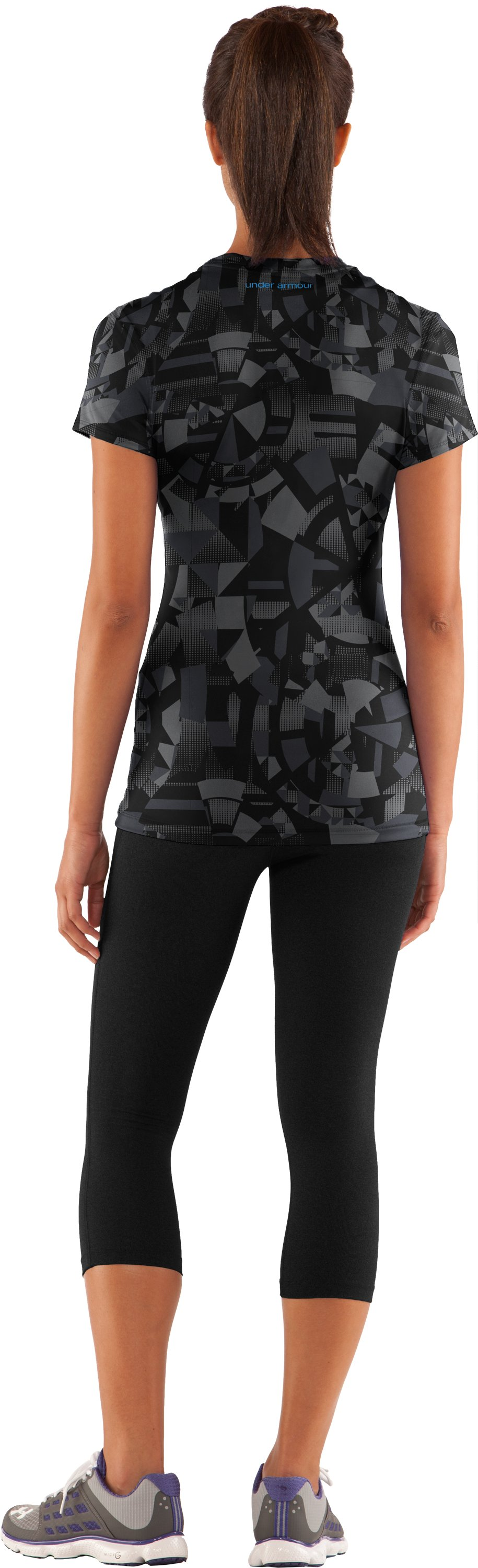 Women's HeatGear® Sonic Printed Short Sleeve, Black , Back