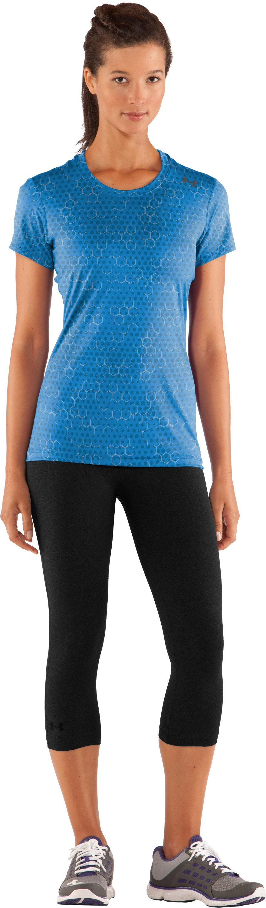 Women's HeatGear® Sonic Printed Short Sleeve, Water, zoomed image