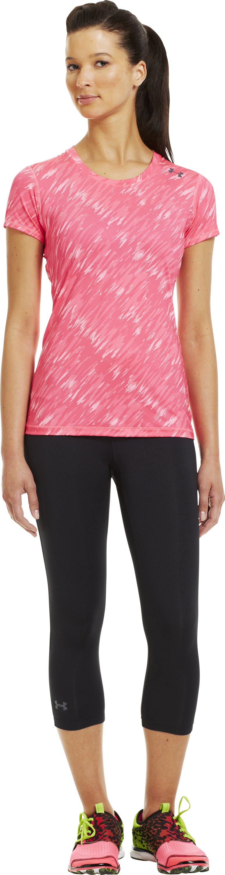Women's HeatGear® Sonic Printed Short Sleeve, Cerise, Front