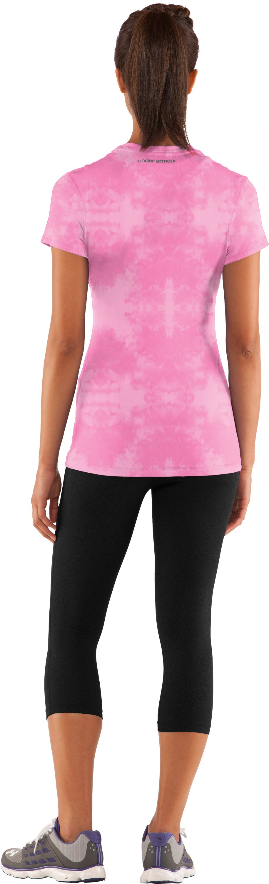 Women's HeatGear® Sonic Printed Short Sleeve, Fluo Pink, Back