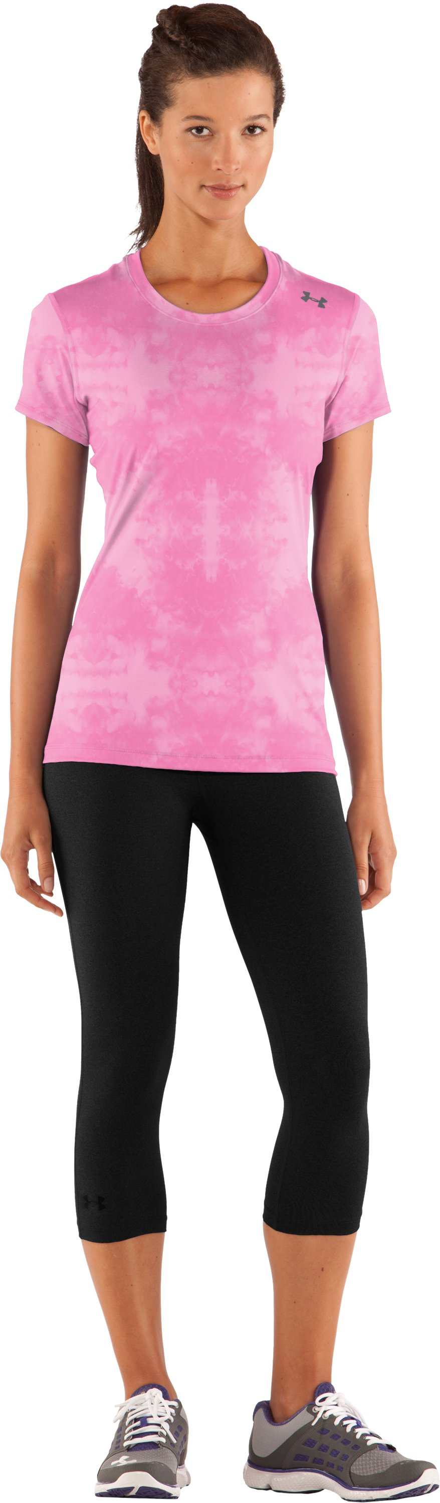 Women's HeatGear® Sonic Printed Short Sleeve, Fluo Pink, zoomed image