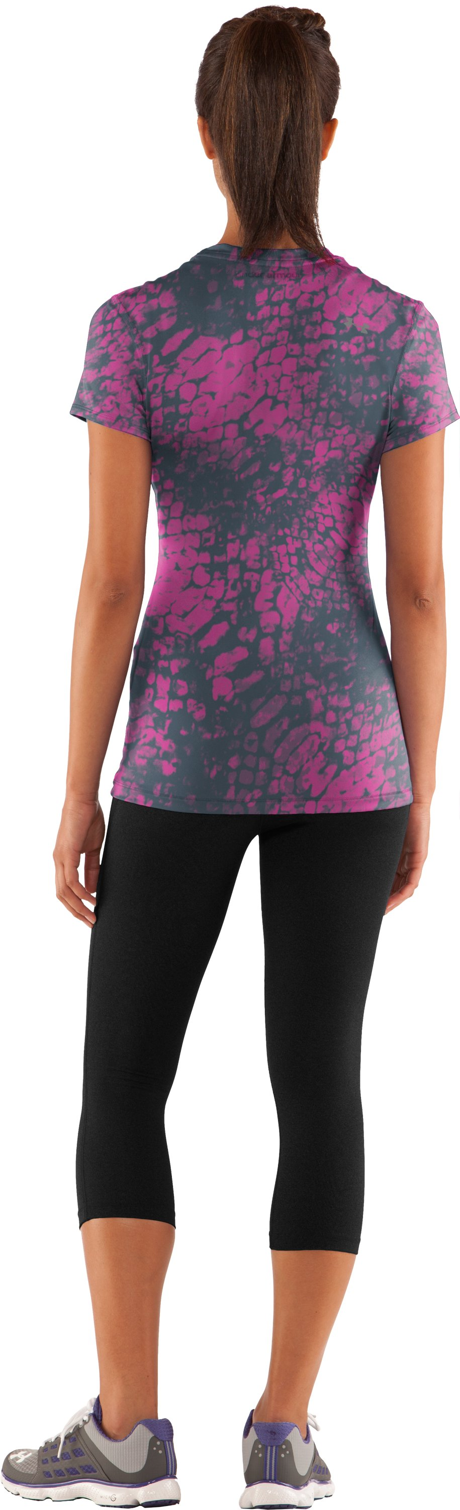 Women's HeatGear® Sonic Printed Short Sleeve, Playful, Back