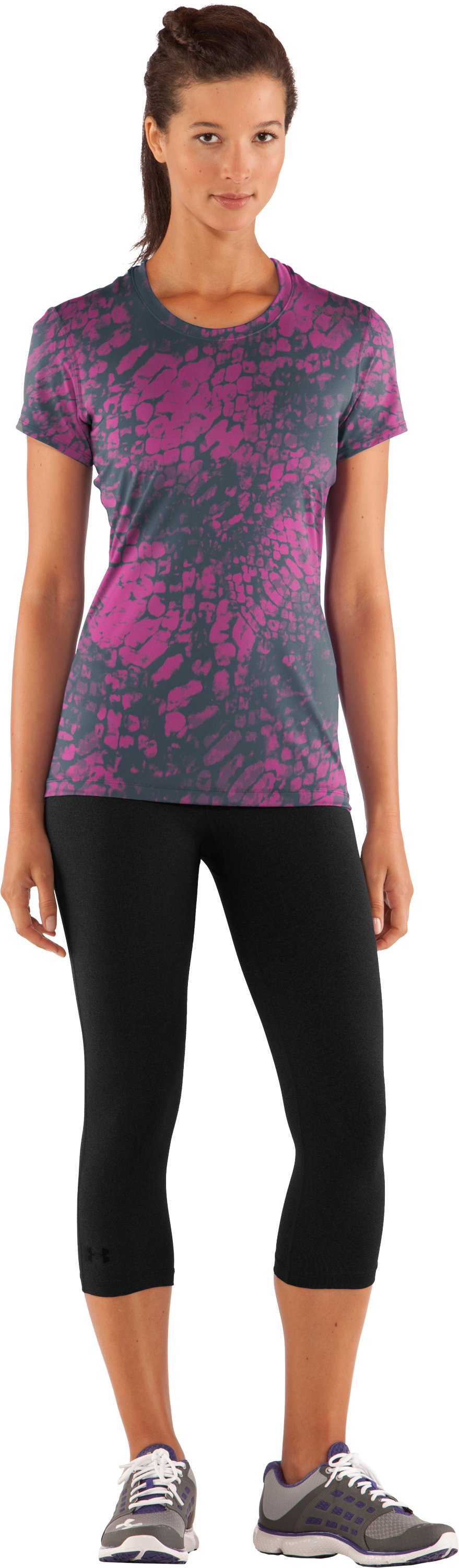 Women's HeatGear® Sonic Printed Short Sleeve, Playful, Front
