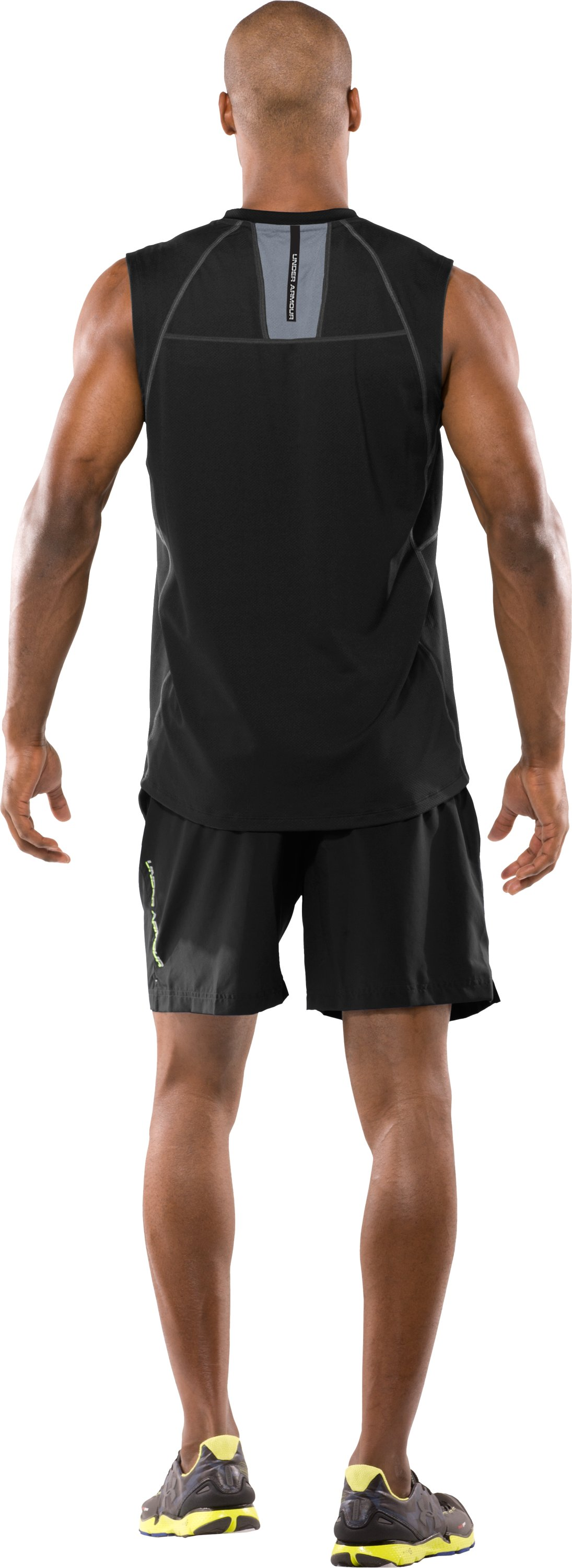 Men's coldblack® UA Run Sleeveless T-Shirt, Black , Back