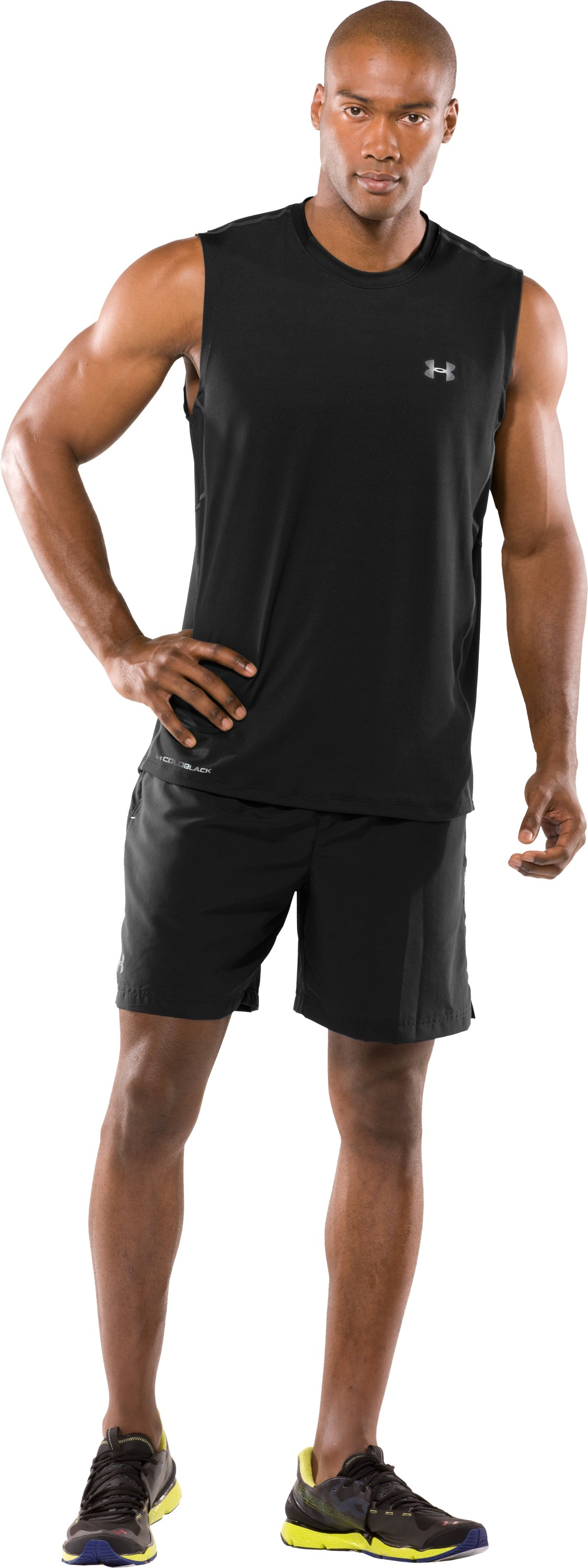 Men's coldblack® UA Run Sleeveless T-Shirt, Black , Front