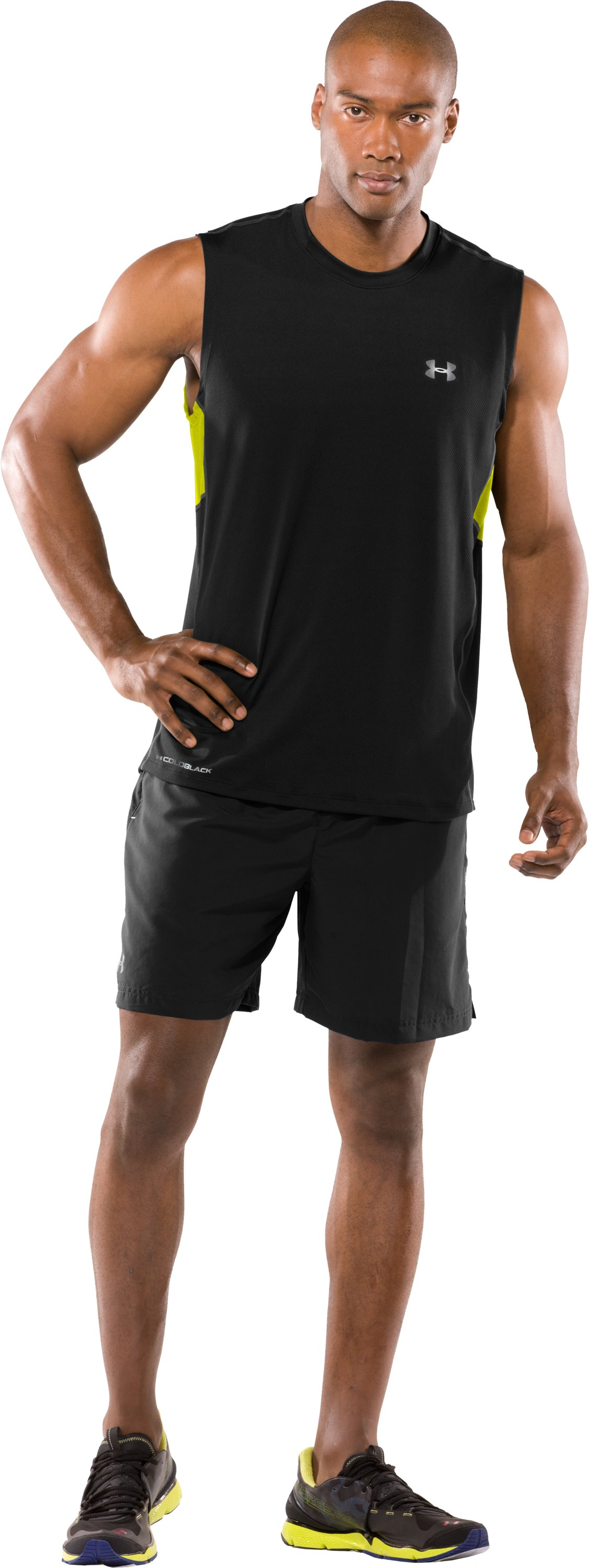 Men's coldblack® UA Run Sleeveless T-Shirt, Black , zoomed image