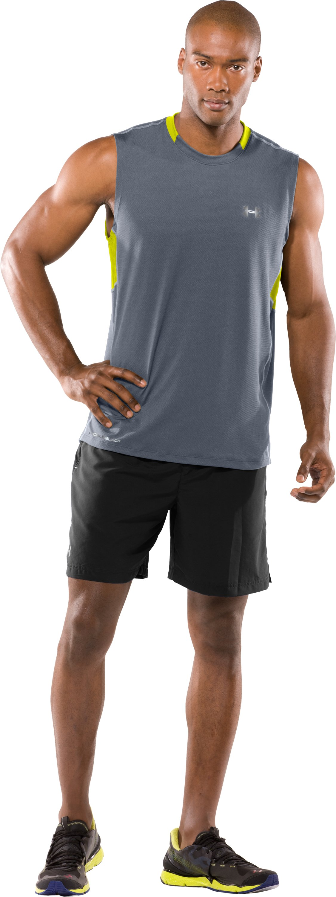 Men's coldblack® UA Run Sleeveless T-Shirt, Steel, zoomed image