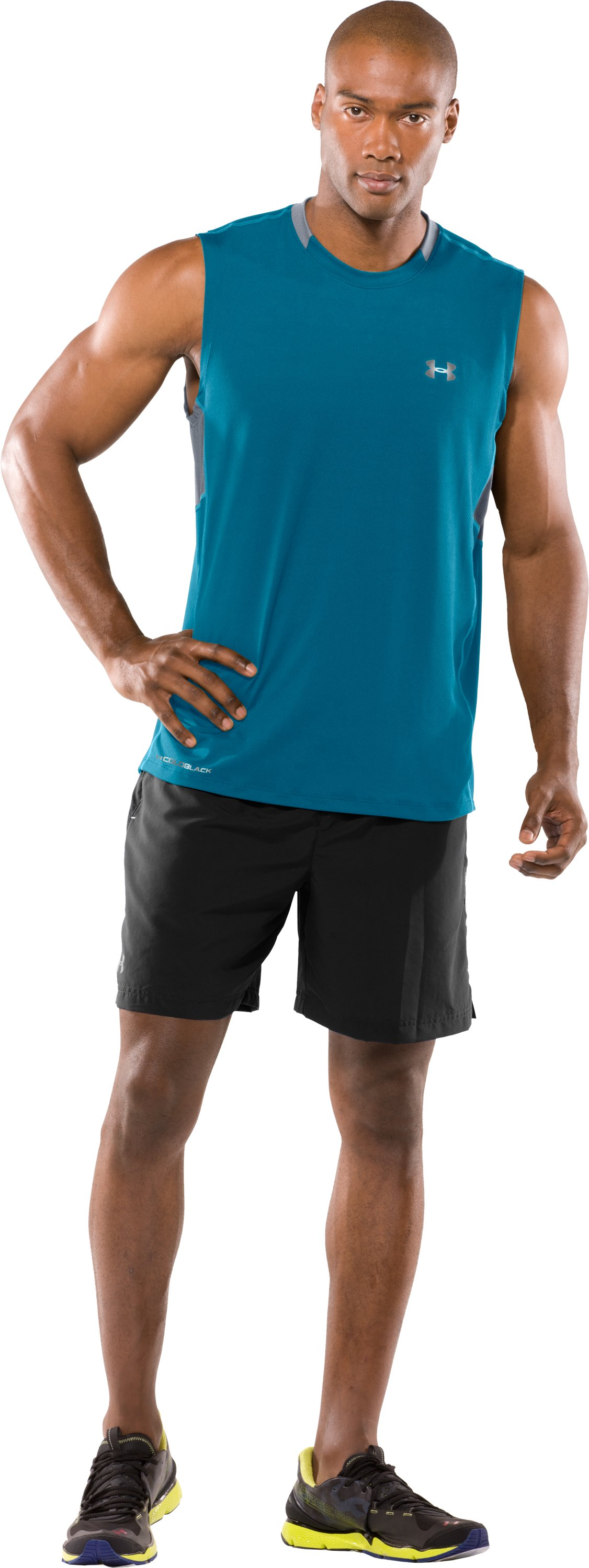 Men's coldblack® UA Run Sleeveless T-Shirt, Break, zoomed image