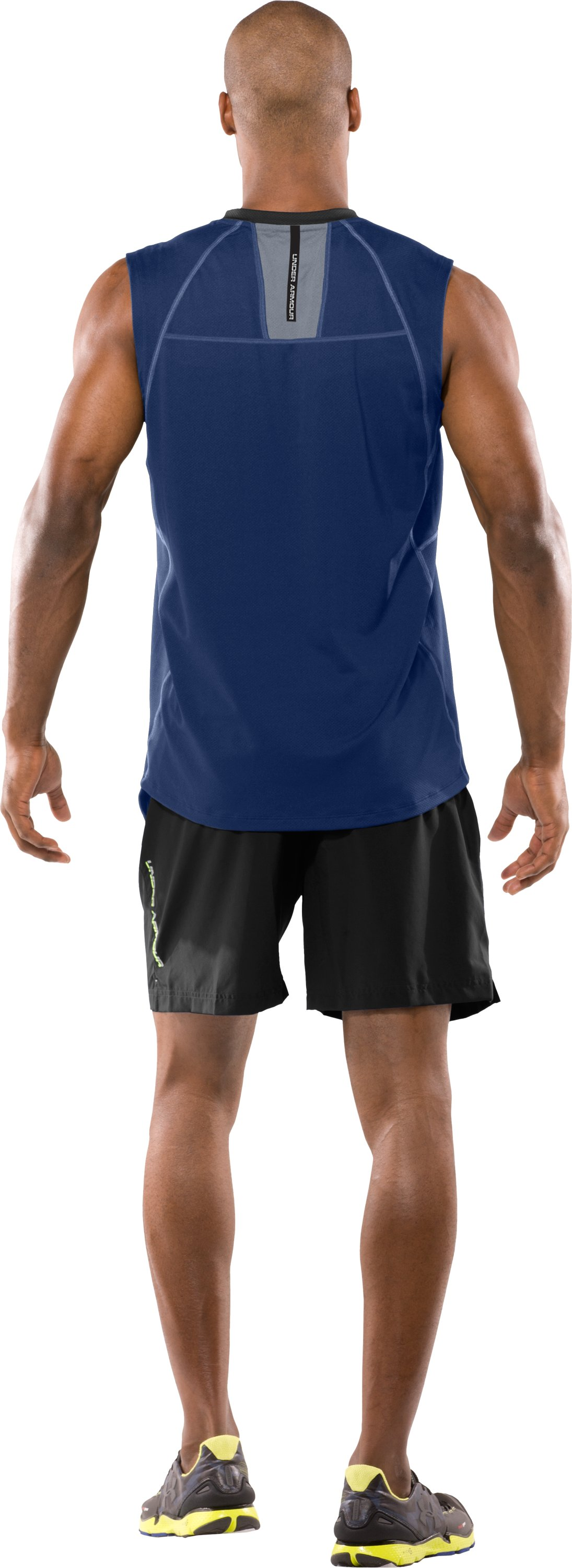 Men's coldblack® UA Run Sleeveless T-Shirt, Evening, Back