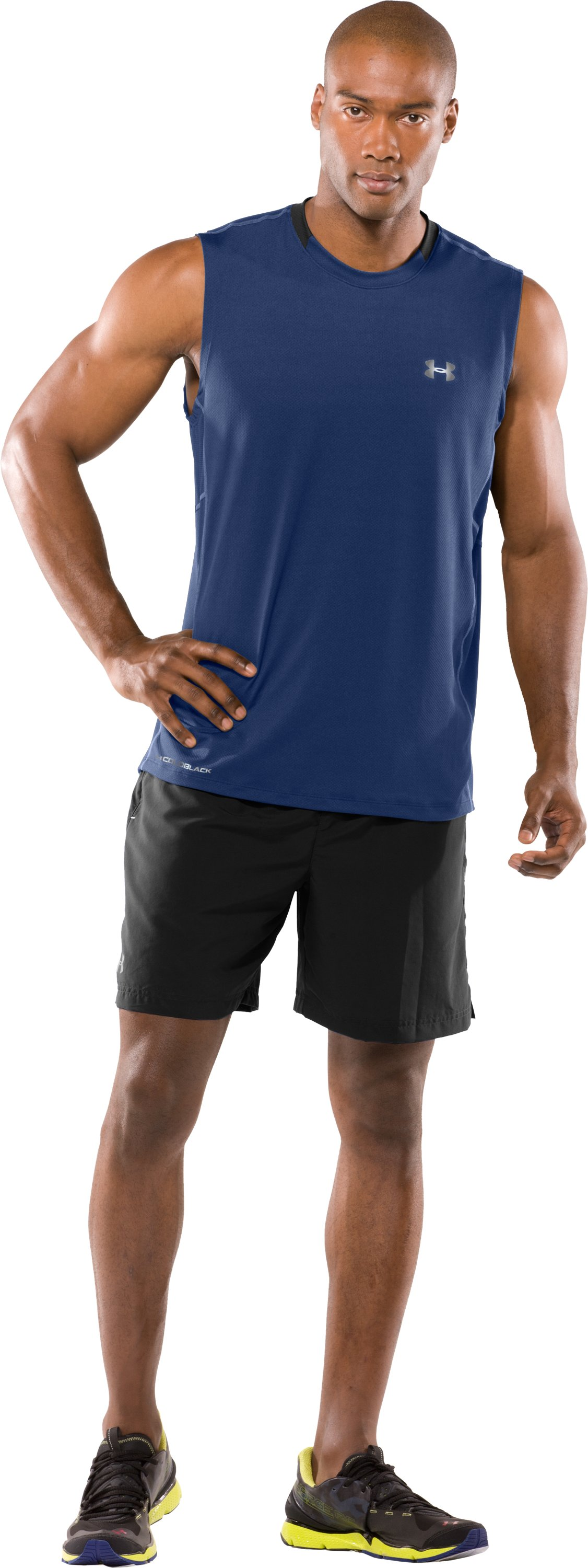 Men's coldblack® UA Run Sleeveless T-Shirt, Evening, Front
