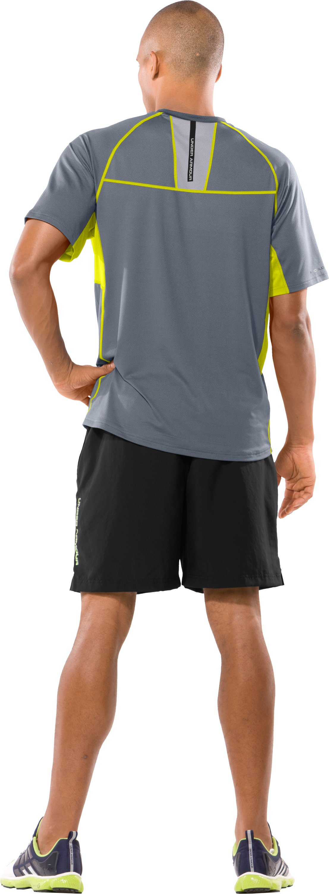 Men's coldblack® UA Run Short Sleeve T-Shirt, Steel, Back