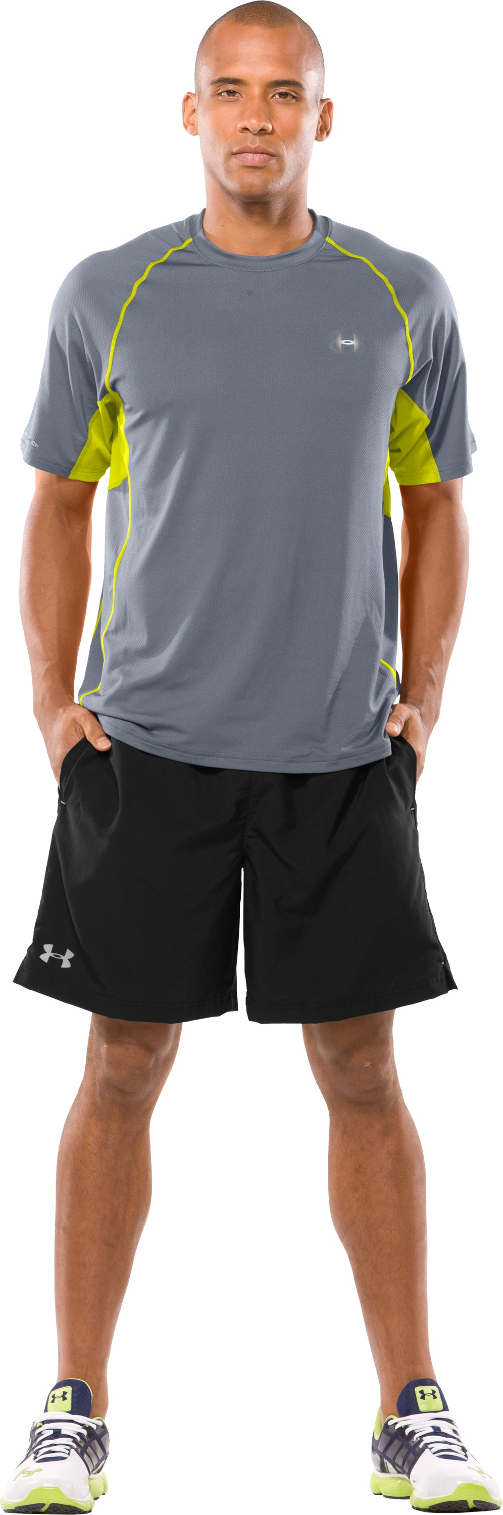 Men's coldblack® UA Run Short Sleeve T-Shirt, Steel, Front