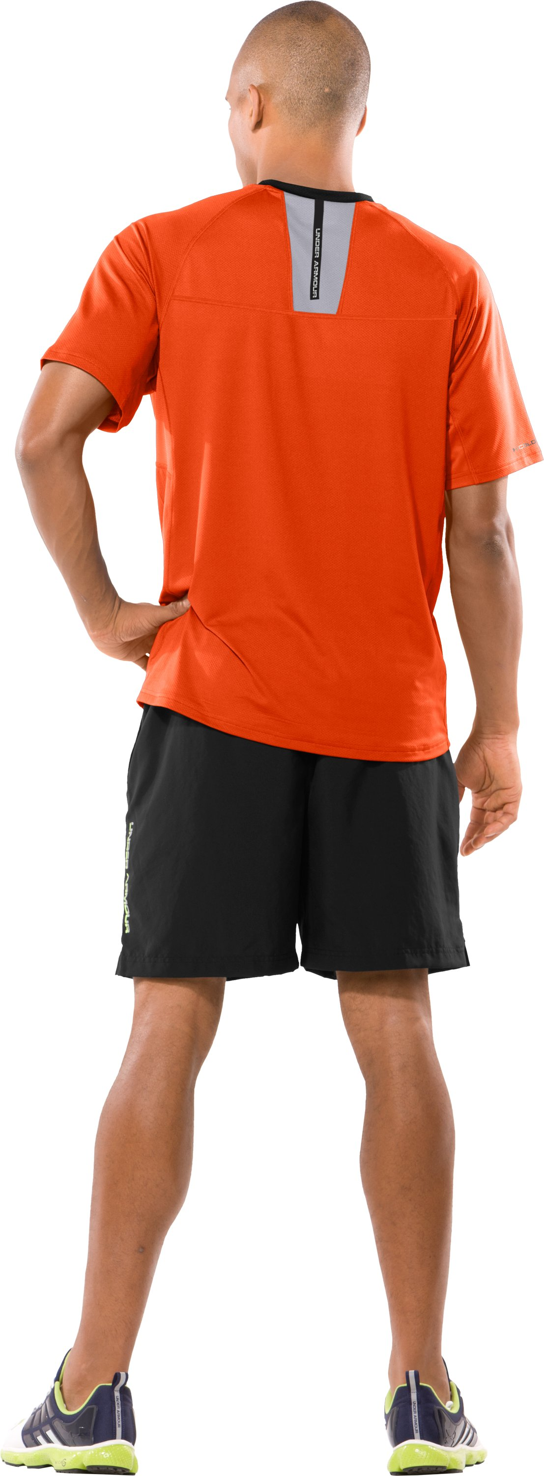 Men's coldblack® UA Run Short Sleeve T-Shirt, Dark Orange, Back