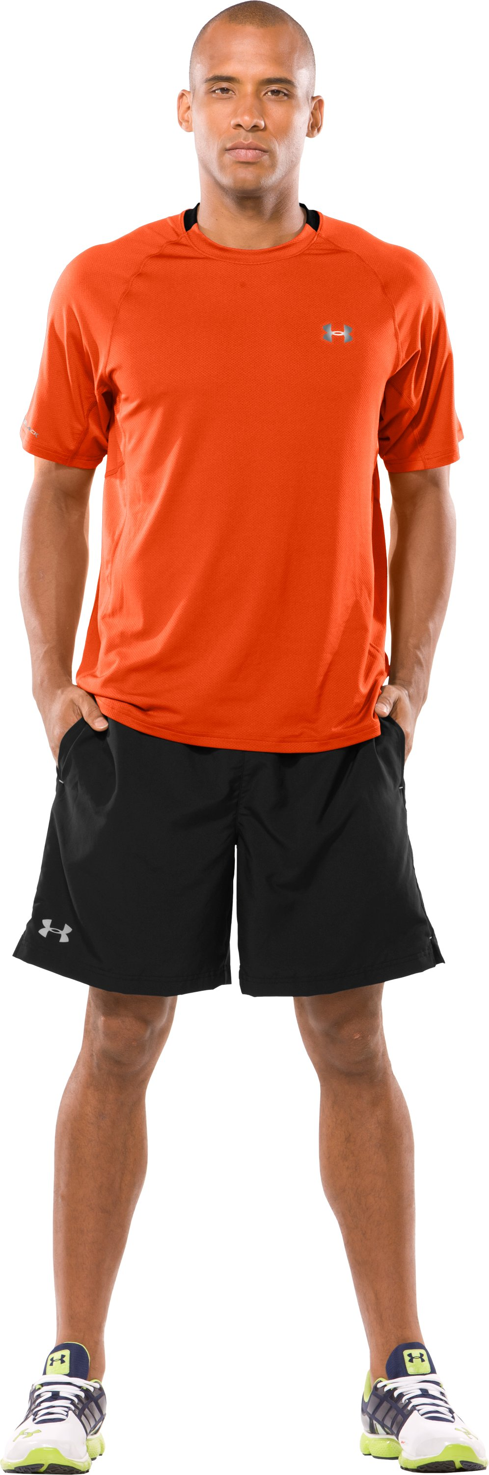 Men's coldblack® UA Run Short Sleeve T-Shirt, Dark Orange, Front