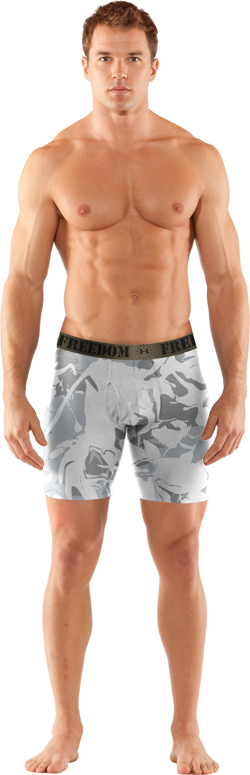 "Men's WWP Printed 6"" Boxerjock® Boxer Briefs, White, zoomed image"
