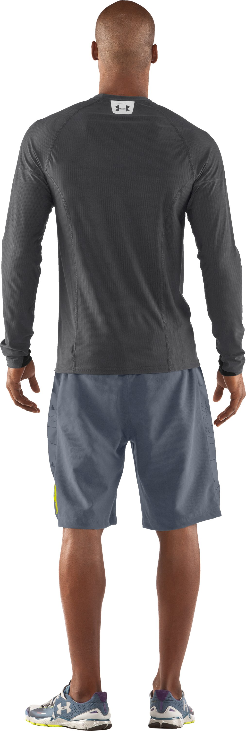 Men's UA Project Run Fitted Long Sleeve T-Shirt, Graphite, Back