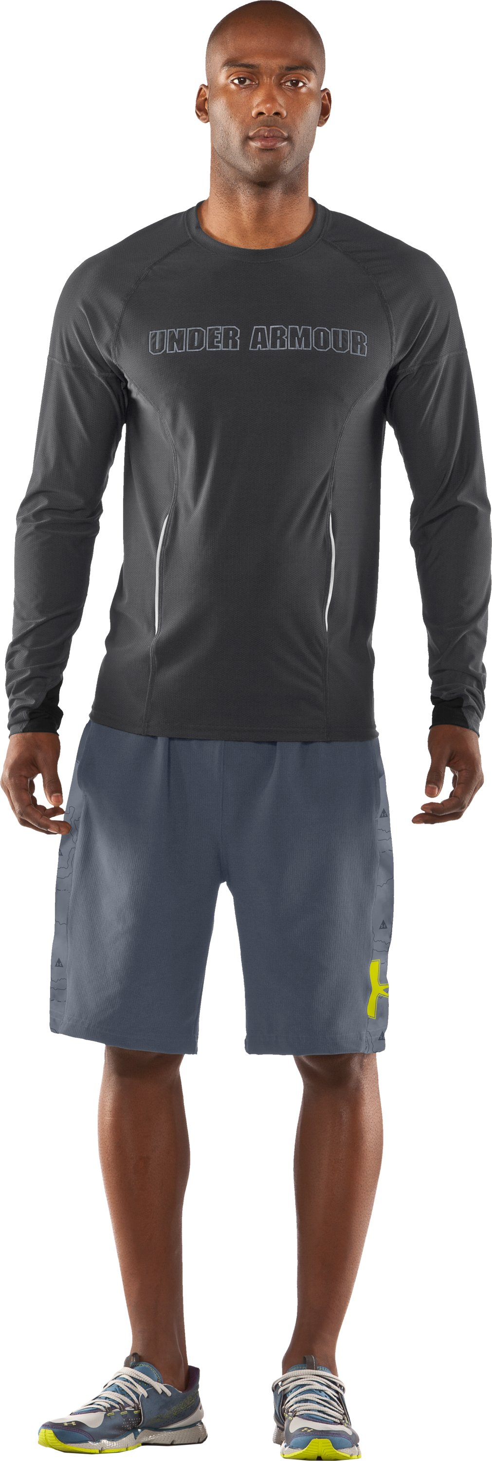 Men's UA Project Run Fitted Long Sleeve T-Shirt, Graphite, Front