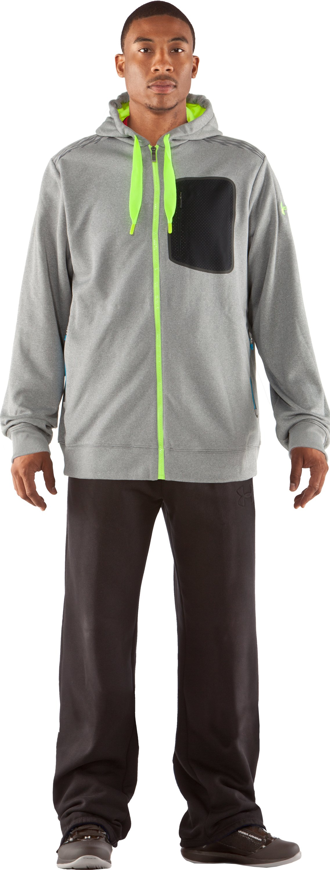 Men's UA Fed Hill Hoodie, True Gray Heather, Front