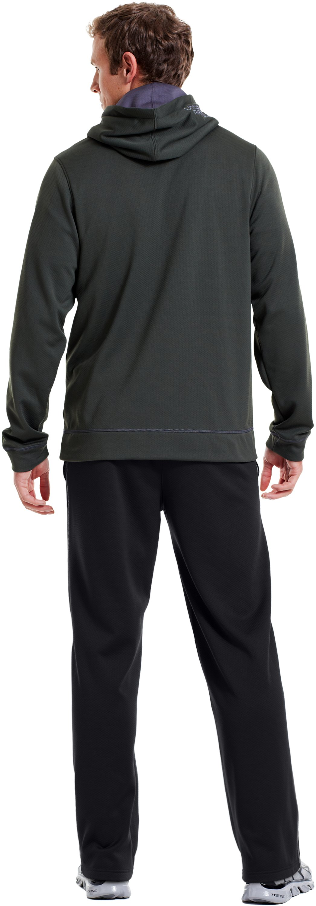 "Men's UA Tech™ Fleece 32"" Pants, Black , Back"