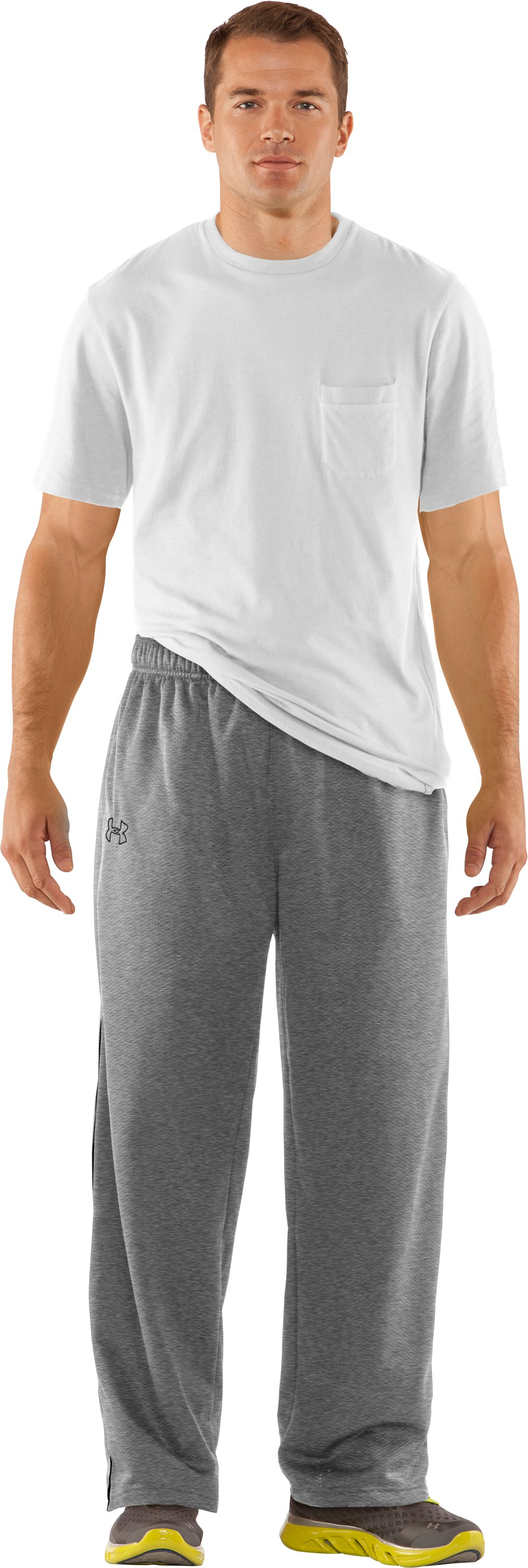 "Men's UA Tech™ Fleece 32"" Pants, True Gray Heather, Front"