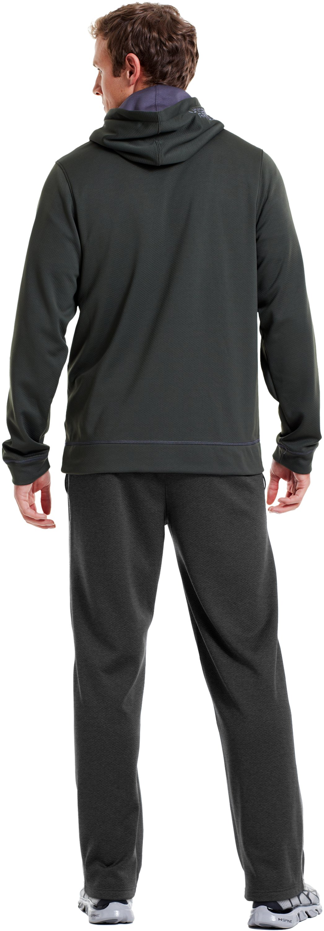 "Men's UA Tech™ Fleece 32"" Pants, Carbon Heather, Back"