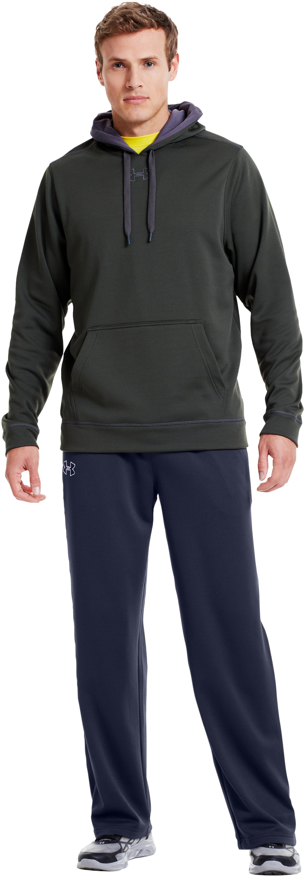 "Men's UA Tech™ Fleece 32"" Pants, Midnight Navy, Front"