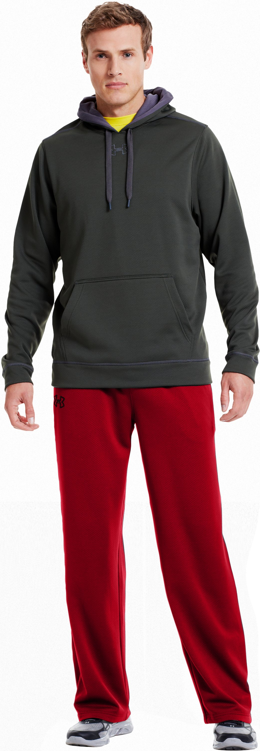 "Men's UA Tech™ Fleece 32"" Pants, Red, Front"