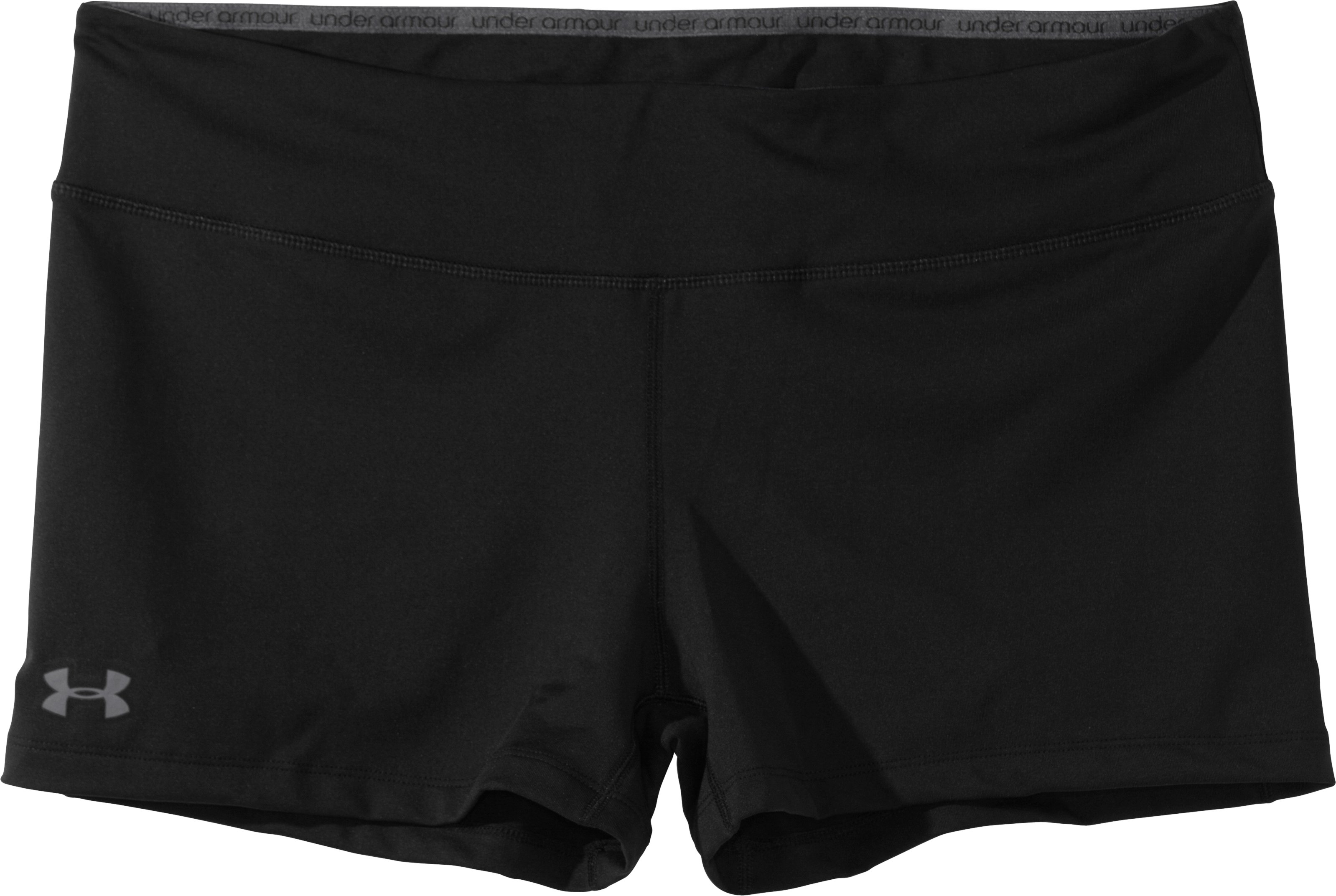 "Women's HeatGear® Sonic 2.5"" Shorty, Black , Laydown"