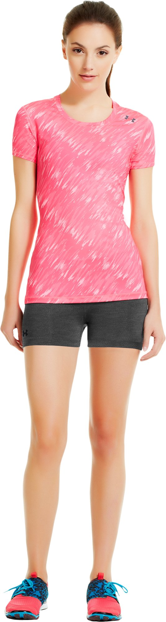 "Women's HeatGear® Sonic 2.5"" Shorty, Carbon Heather, Front"