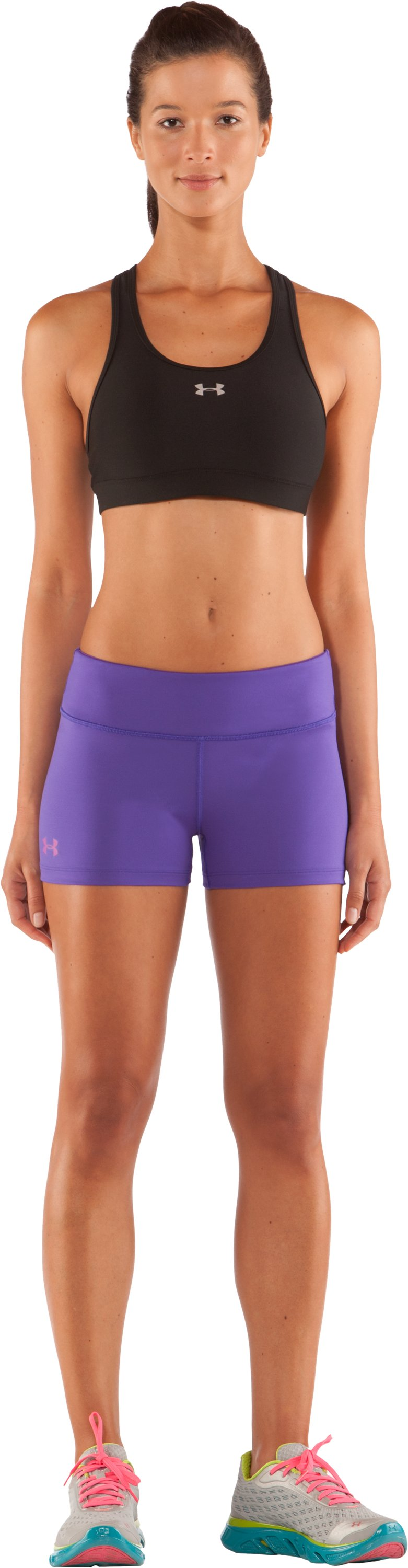 "Women's HeatGear® Sonic 2.5"" Shorty, Pluto, Front"