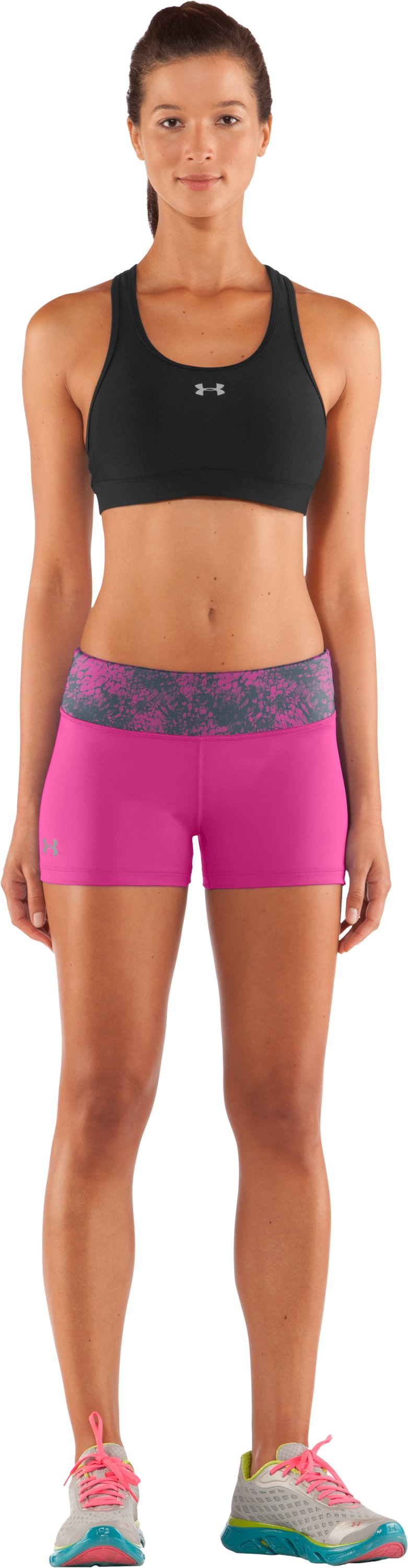 "Women's HeatGear® Sonic 2.5"" Shorty, Playful, Front"