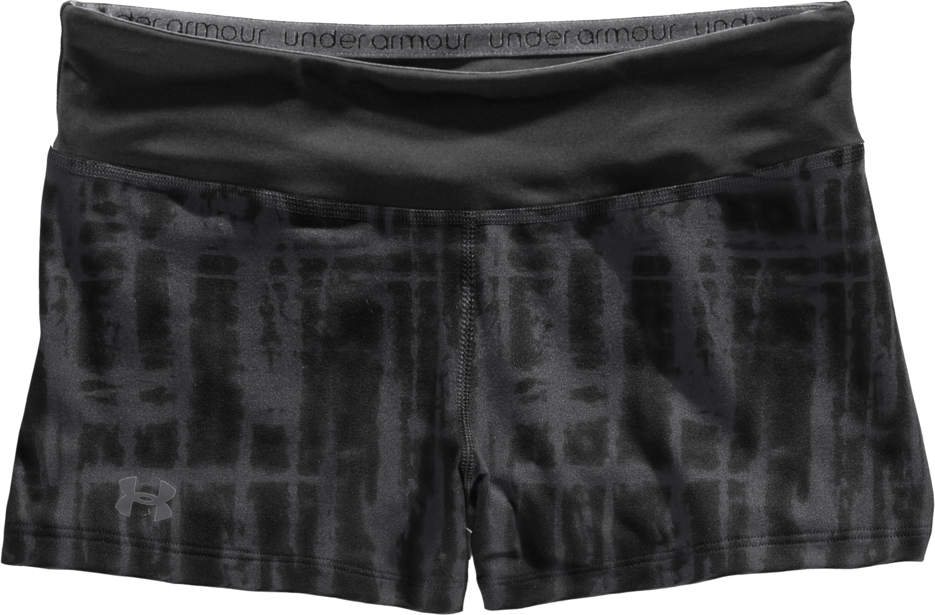 "Women's HeatGear® Sonic 2.5"" Printed Shorty, Black , Laydown"