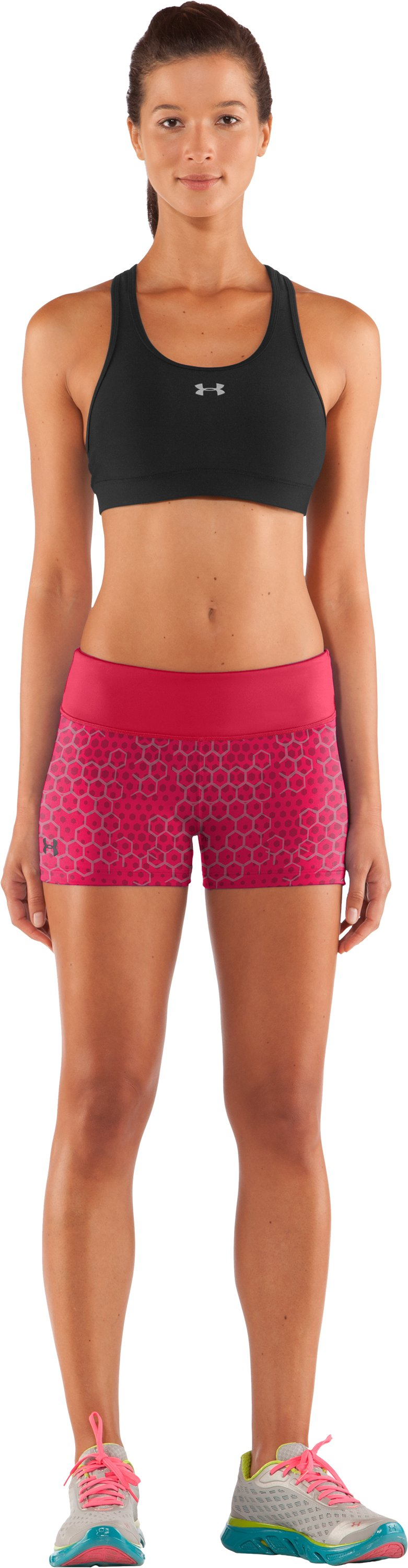 "Women's HeatGear® Sonic 2.5"" Printed Shorty, Hibiscus, Front"