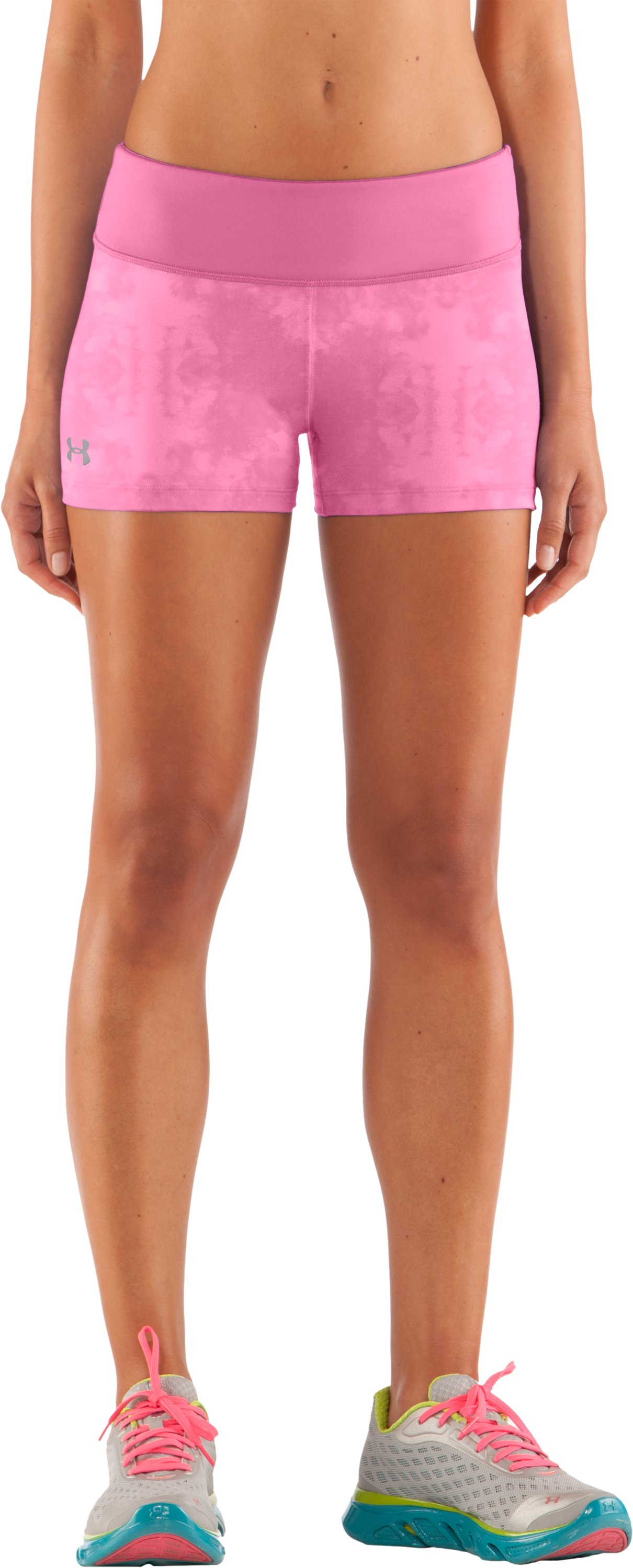 "Women's HeatGear® Sonic 2.5"" Printed Shorty, Fluo Pink, zoomed image"
