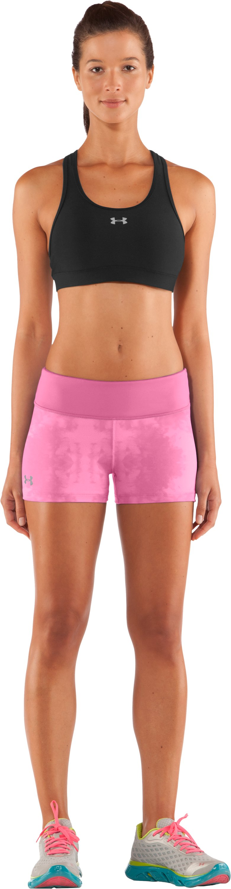 "Women's HeatGear® Sonic 2.5"" Printed Shorty, Fluo Pink, Front"