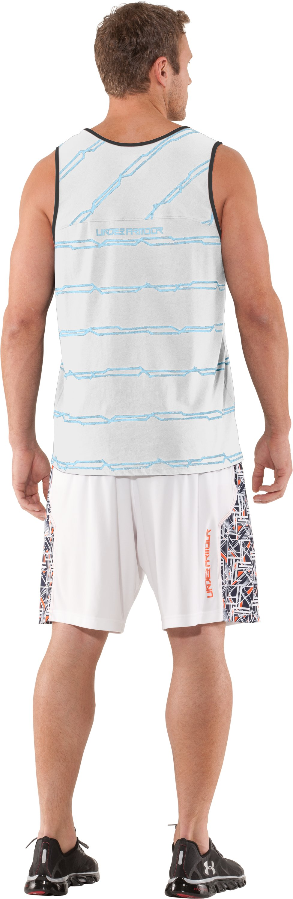 Men's UA Sleeve Monster Striped Tank, White, Back