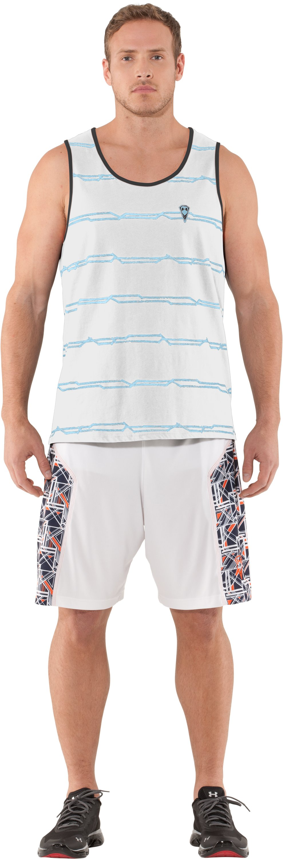 Men's UA Sleeve Monster Striped Tank, White, Front