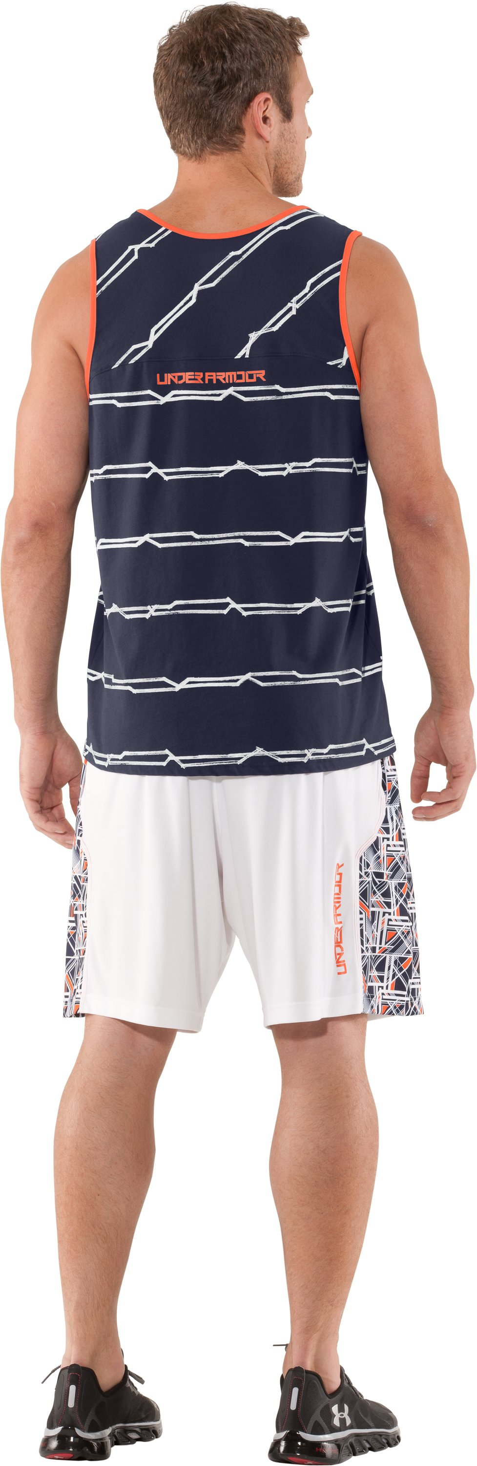 Men's UA Sleeve Monster Striped Tank, Midnight Navy, Back