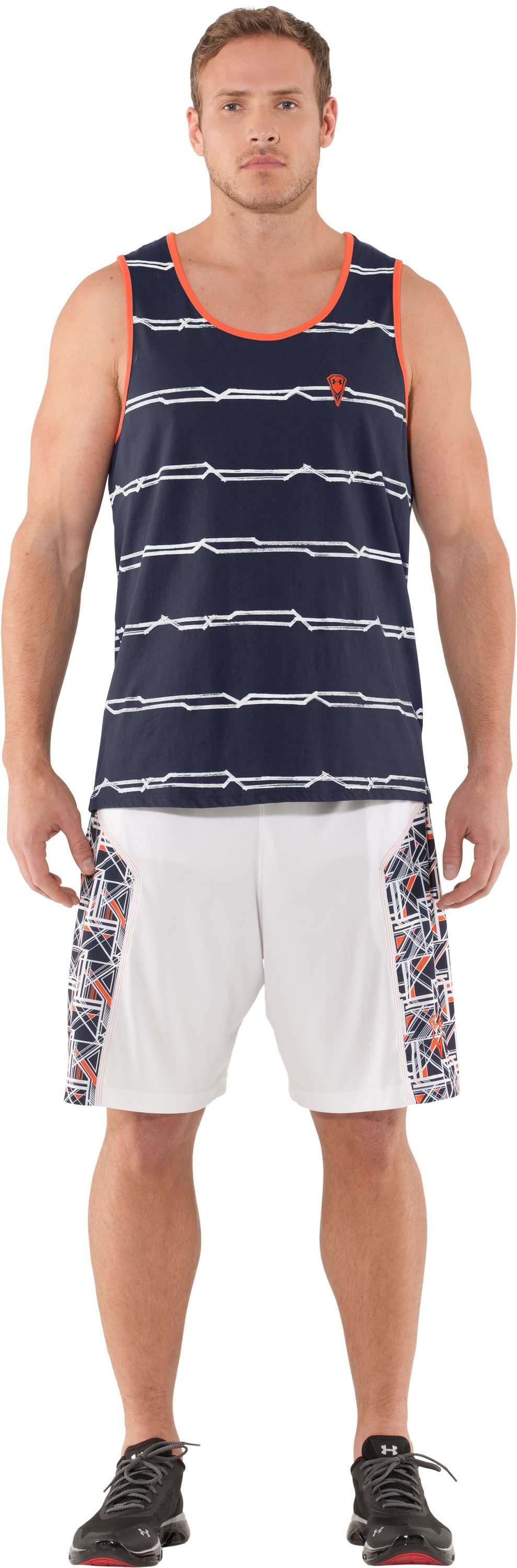 Men's UA Sleeve Monster Striped Tank, Midnight Navy, Front