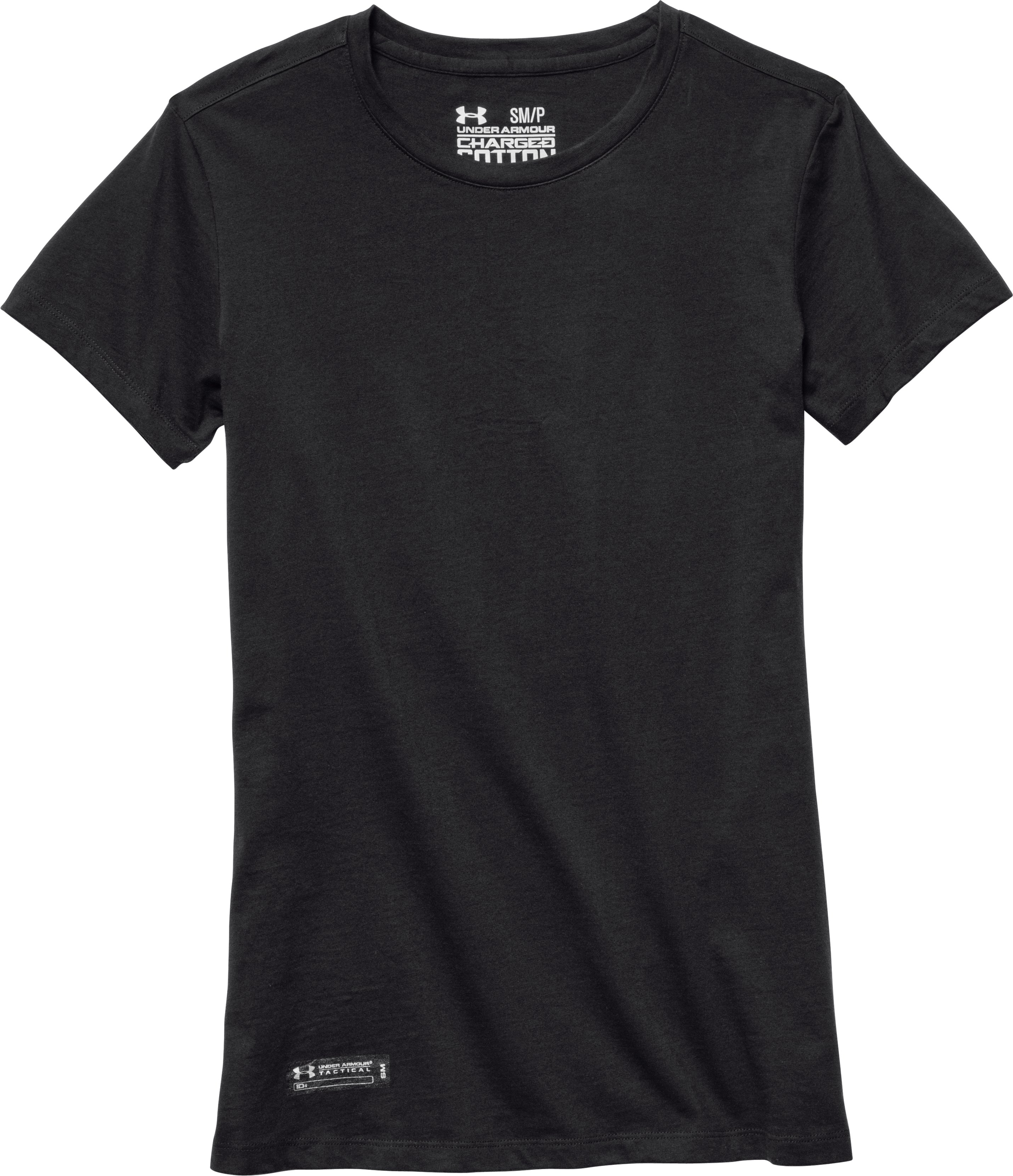 Women's UA Tactical Charged Cotton® T-Shirt, Black , Laydown