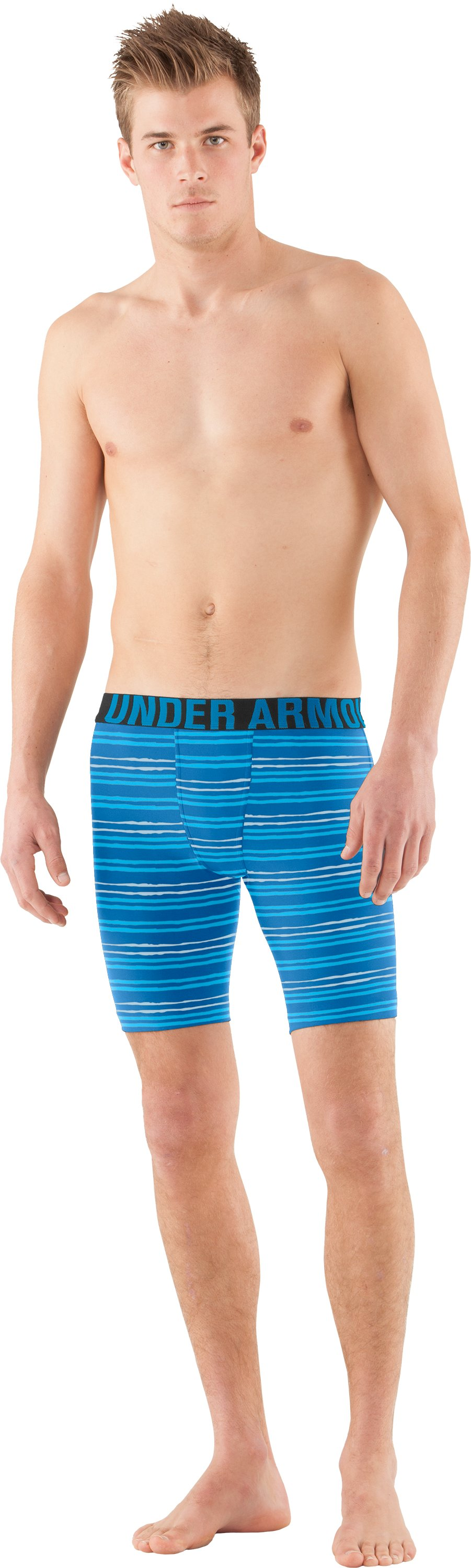 Men's UA Keewaydin Compression Shorts, STREAM, Front