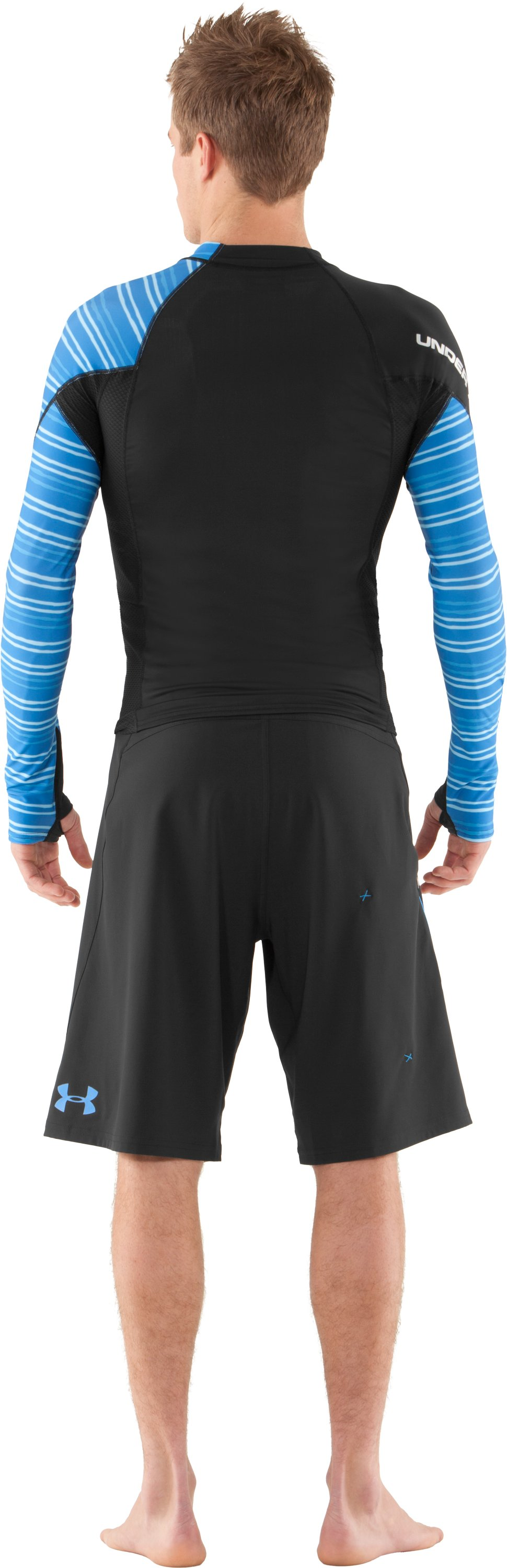 Men's UA Greyton Long Sleeve Rash Guard, Black , Back