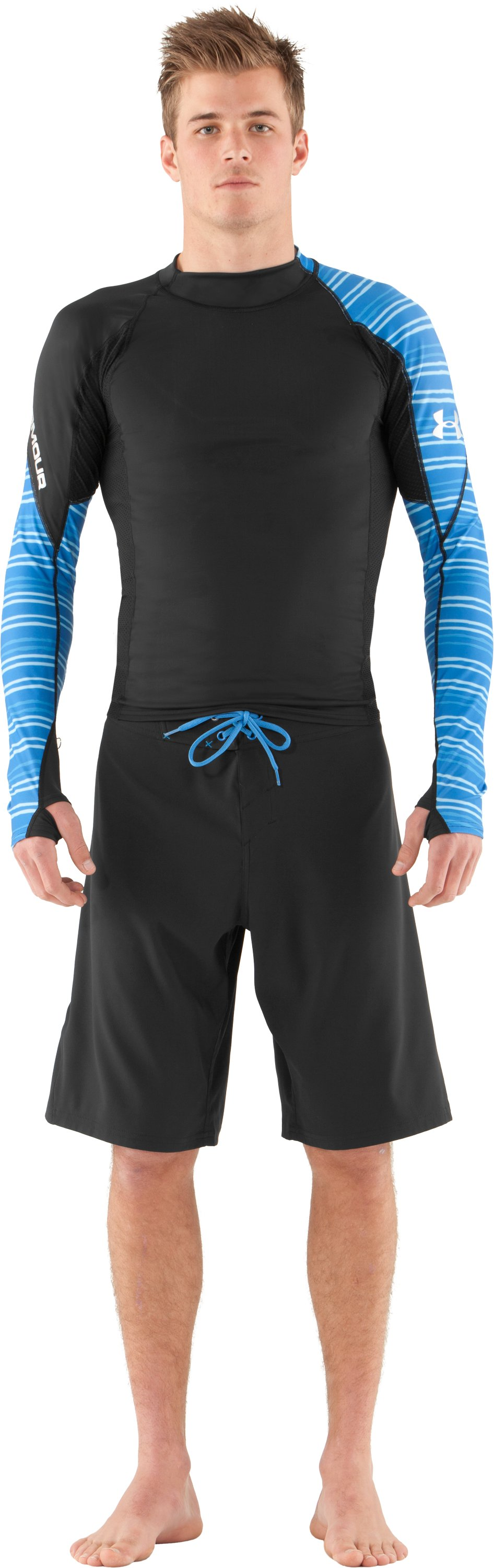 Men's UA Greyton Long Sleeve Rash Guard, Black , Front