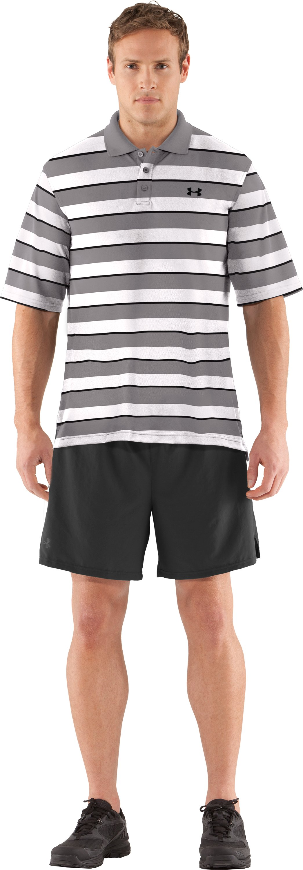 Men's UA Strength Stripe Polo, Storm, Front