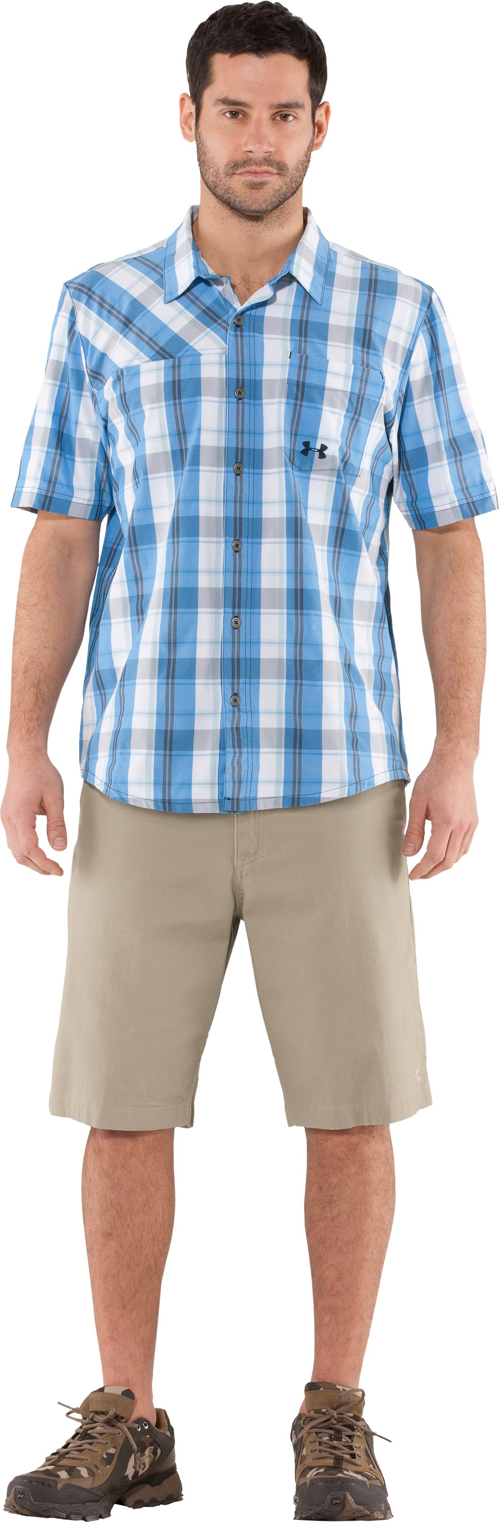 Men's UA Range Plaid Shirt, St. Tropez, Front