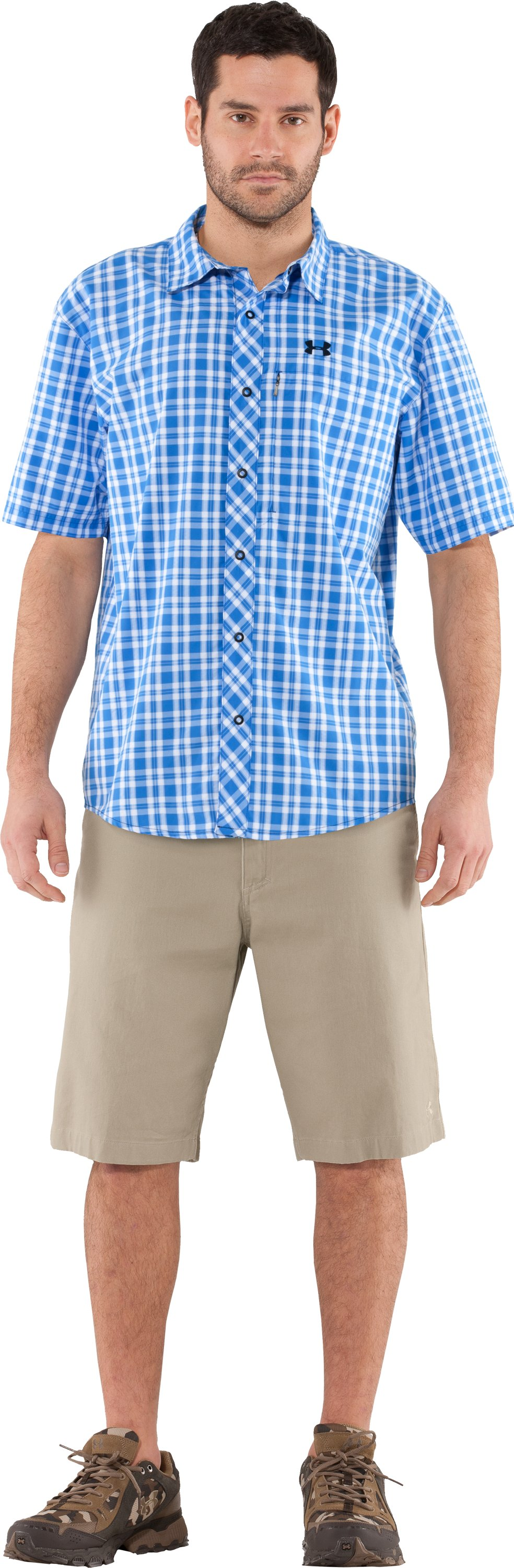Men's UA High Desert Plaid Shirt, St. Tropez, Front